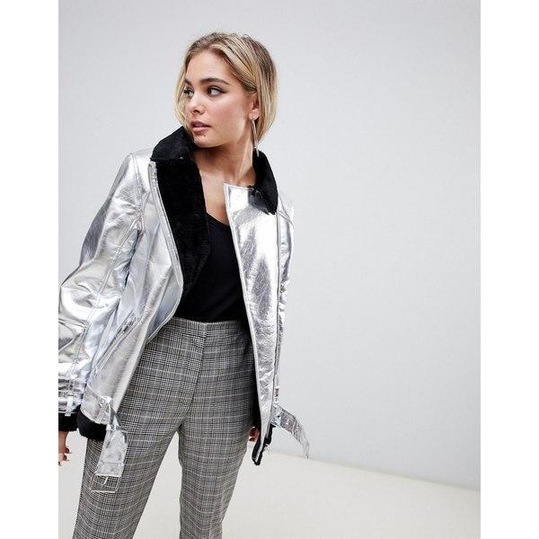 ミスガイデッド レディース ジャケット&ブルゾン アウター Missguided metallic shearling jacket Silver
