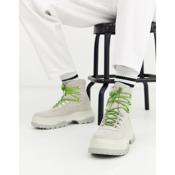 エイソス メンズ ブーツ&レインブーツ シューズ ASOS DESIGN lace up boot in off white faux suede with chunky sole White