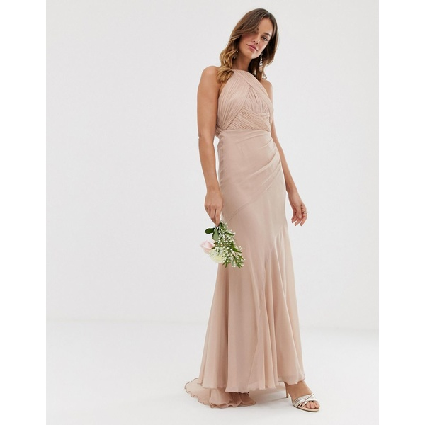 エイソス レディース ワンピース トップス ASOS DESIGN Bridesmaid pinny bodice maxi dress with fishtail skirt Soft blush