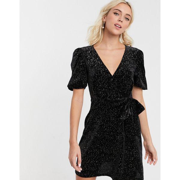 エイソス レディース トップス ワンピース Black glitter 全商品無料サイズ交換 エイソス レディース ワンピース トップス ASOS DESIGN glitter velvet mini tea dress Black glitter