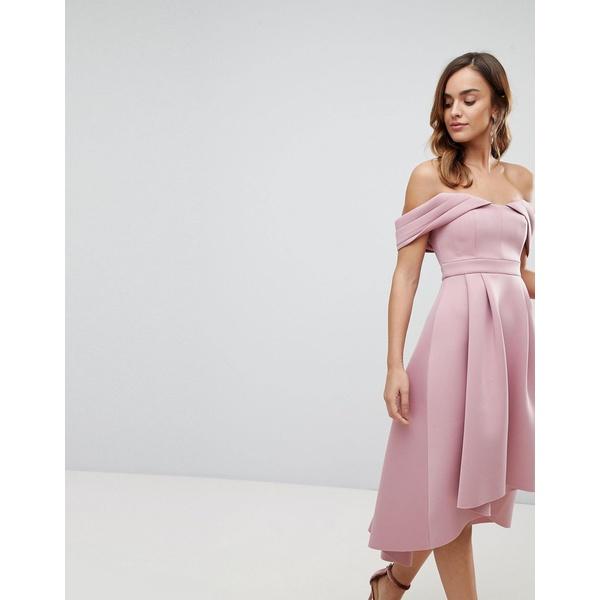 エイソス レディース ワンピース トップス ASOS DESIGN bardot cold shoulder dip back midi prom dress Blush