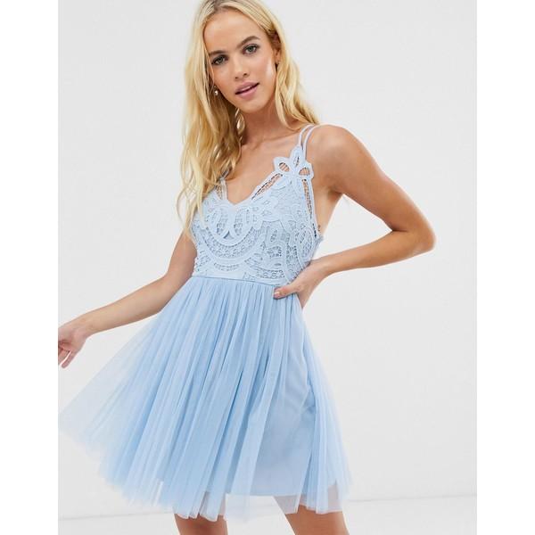 エイソス レディース ワンピース トップス ASOS DESIGN Premium lace top tulle cami mini dress Blue