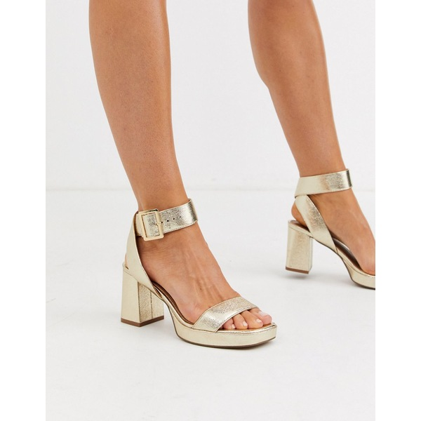 エイソス レディース ヒール シューズ ASOS DESIGN Hopscotch platform heeled sandals in metallic Metallic