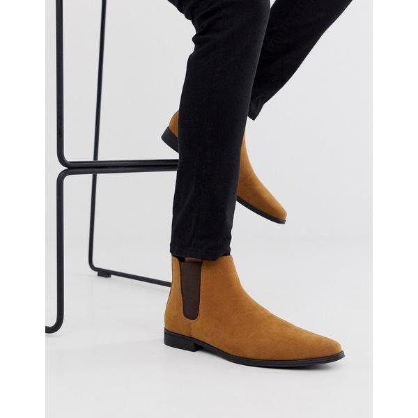 エイソス メンズ ブーツ&レインブーツ シューズ ASOS DESIGN chelsea boots in tan faux suede Tan