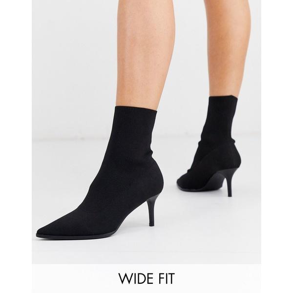 エイソス レディース ブーツ&レインブーツ シューズ ASOS DESIGN Wide Fit Recharge kitten heel sock boots in black Black