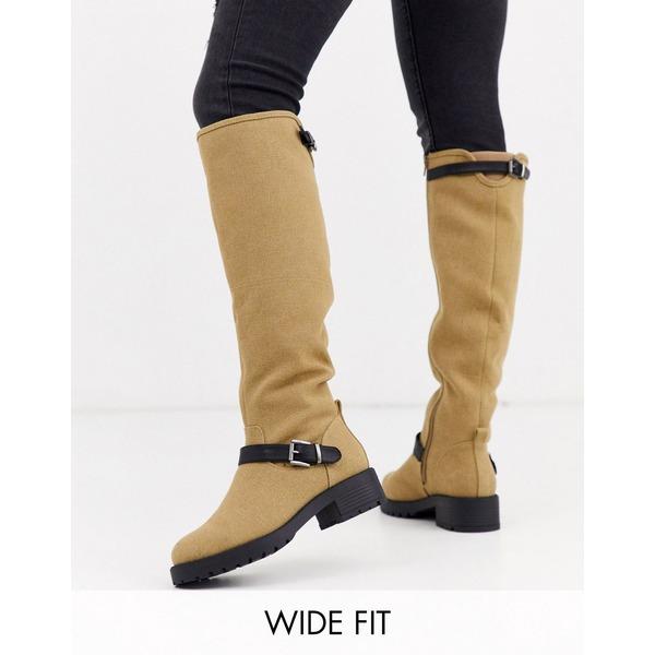 エイソス レディース ブーツ&レインブーツ シューズ ASOS DESIGN Wide Fit Broadcast biker knee high boots in khaki Khaki
