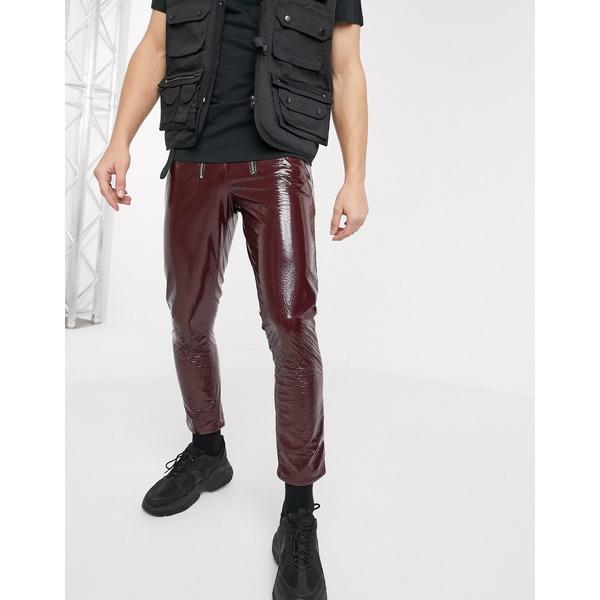 エイソス メンズ デニムパンツ ボトムス ASOS DESIGN stretch slim jeans in burgundy vinyl with zip front Brown
