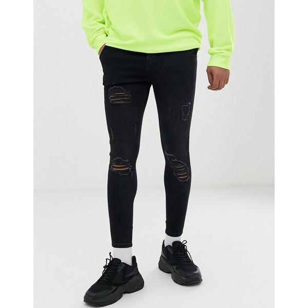 シックシルク メンズ デニムパンツ ボトムス SikSilk super skinny jeans in black with knee rips Black