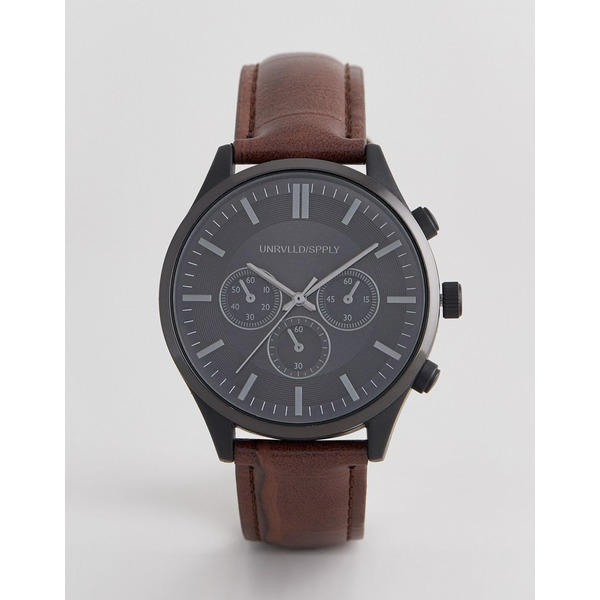エイソス メンズ 腕時計 アクセサリー ASOS DESIGN watch with crocodile emboss strap and contrast black case Brown