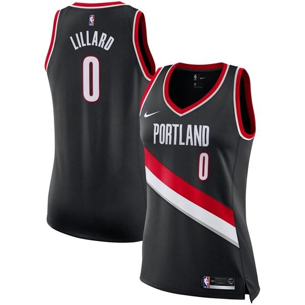 ナイキ レディース シャツ トップス Damian Lillard Portland Trail Blazers Nike Women's Swingman Jersey - Black Icon Edition