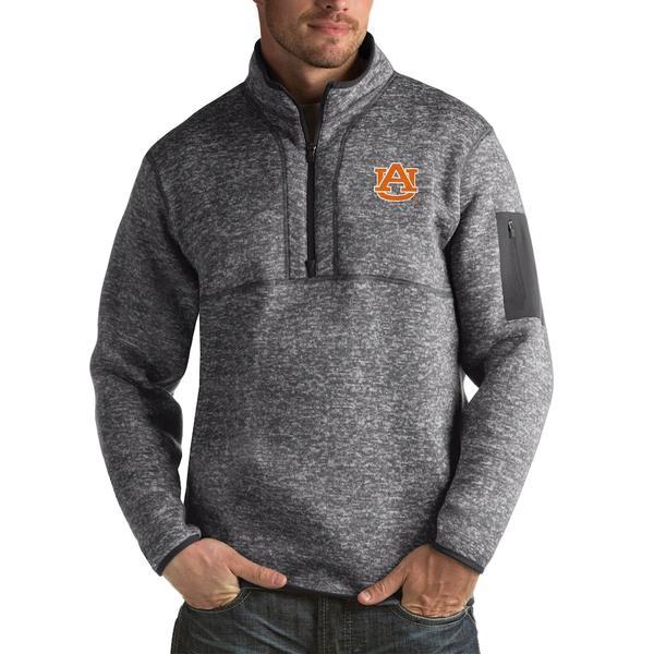 アンティグア メンズ ジャケット&ブルゾン アウター Auburn Tigers Antigua Fortune Big & Tall Quarter-Zip Pullover Jacket Charcoal