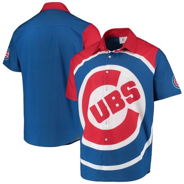 フォコ メンズ シャツ トップス Chicago Cubs Big Logo Button-Up Shirt Royal