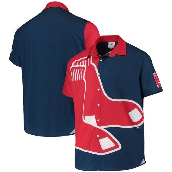 フォコ メンズ シャツ トップス Boston Red Sox Big Logo Button-Up Shirt Navy