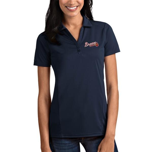 アンティグア レディース ポロシャツ トップス Atlanta Braves Antigua Women's Tribute Polo Navy