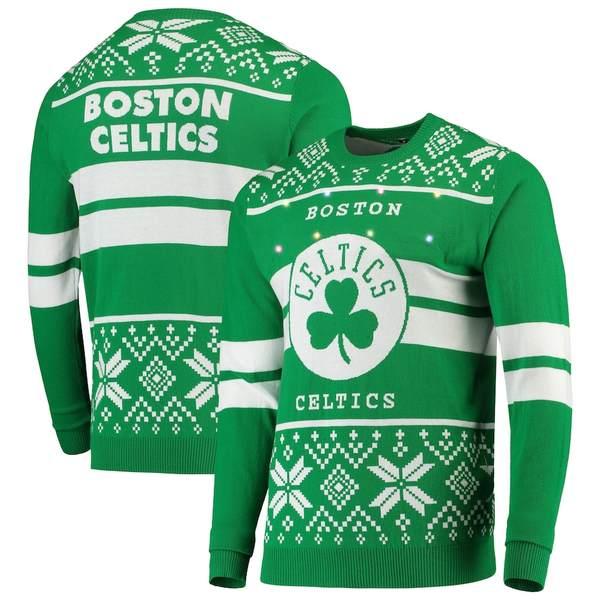 フォコ メンズ シャツ トップス Boston Celtics Big Logo Striped Light-Up Pullover Sweater Kelly Green