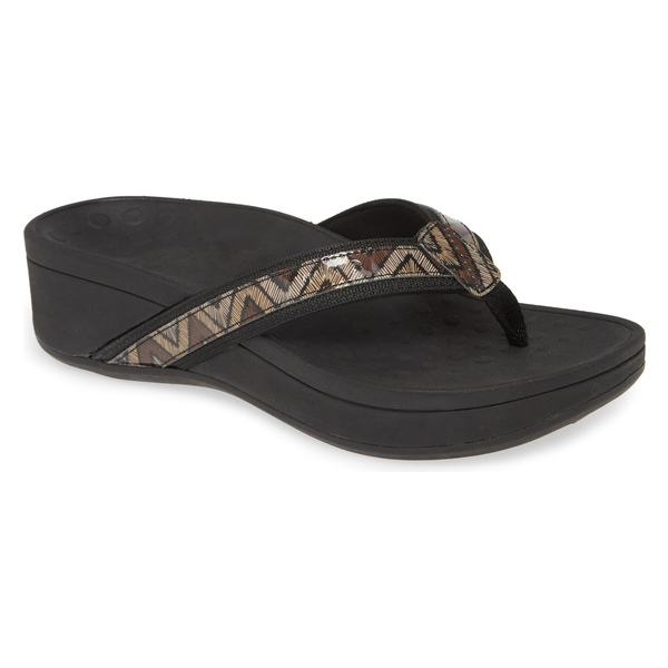 バイオニック レディース サンダル シューズ Vionic High Tide Wedge Flip Flop (Women) Black/ Brown Fabric
