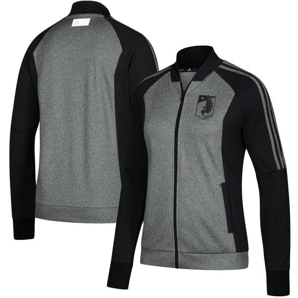アディダス レディース ジャケット&ブルゾン アウター Minnesota United FC adidas Women's Anthem FullZip Jacket Heathered Gray/Black