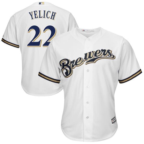 マジェスティック メンズ ユニフォーム トップス Christian Yelich Milwaukee Brewers Majestic Alternate Official Cool Base Player Jersey Navy