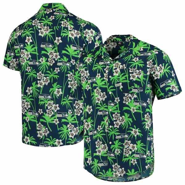 フォコ メンズ シャツ トップス Seattle Seahawks Floral Woven Button-Up Shirt College Navy