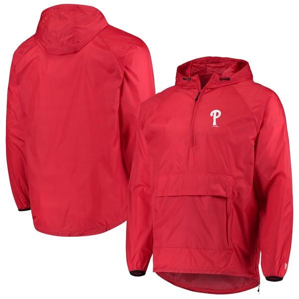 ニューエラ メンズ ジャケット&ブルゾン アウター Philadelphia Phillies New Era Anorak Packable 1/4-Zip Hoodie Jacket Red