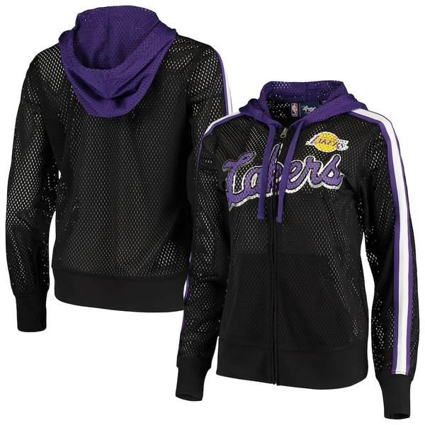 カールバンクス レディース ジャケット&ブルゾン アウター Los Angeles Lakers G-III 4Her by Carl Banks Women's Top of the Key Foil Mesh Full-Zip Hoodie Black/Purple