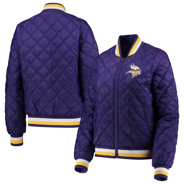カールバンクス レディース ジャケット&ブルゾン アウター Minnesota Vikings G-III 4Her by Carl Banks Women's Goal Line Quilted Bomber Full-Zip Jacket Purple