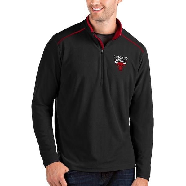 アンティグア メンズ ジャケット&ブルゾン アウター Chicago Bulls Antigua Glacier Quarter-Zip Pullover Jacket Black/Red