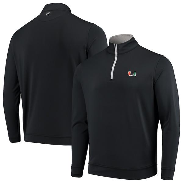 ピーター・ミラー メンズ ジャケット&ブルゾン アウター Miami Hurricanes Peter Millar Perth Solid Stretch Quarter-Zip Pullover Jacket Black