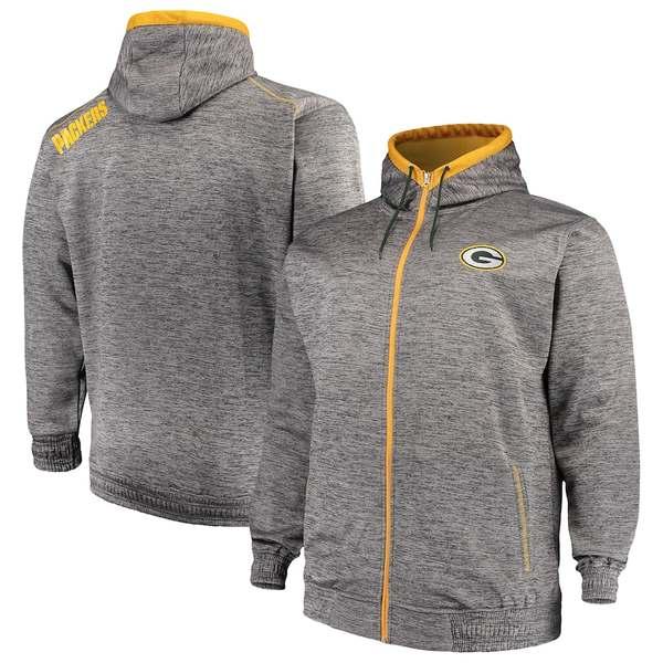 マジェスティック メンズ パーカー・スウェットシャツ アウター Green Bay Packers Majestic Big & Tall Space Dye Full-Zip Hoodie Gray