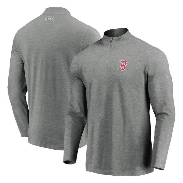 アンダーアーマー メンズ ジャケット&ブルゾン アウター Boston Red Sox Under Armour Passion Performance Tri-Blend Quarter-Zip Pullover Jacket Heathered Gray