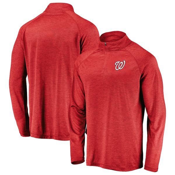 ファナティクス メンズ ジャケット&ブルゾン アウター Washington Nationals Fanatics Branded Iconic Striated Primary Logo Raglan Quarter-Zip Pullover Jacket Red