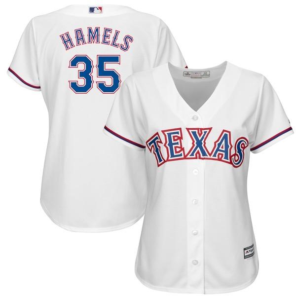 マジェスティック レディース シャツ トップス Cole Hamels Texas Rangers Majestic Women's Official Cool Base Player Jersey White