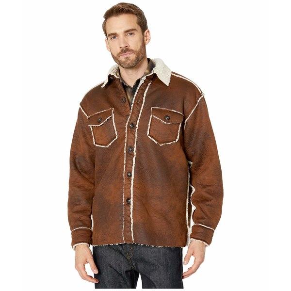 トゥルーグリット メンズ コート アウター Vintage Bonded Faux Leather Two-Pocket Button Jacket Vintage Brown