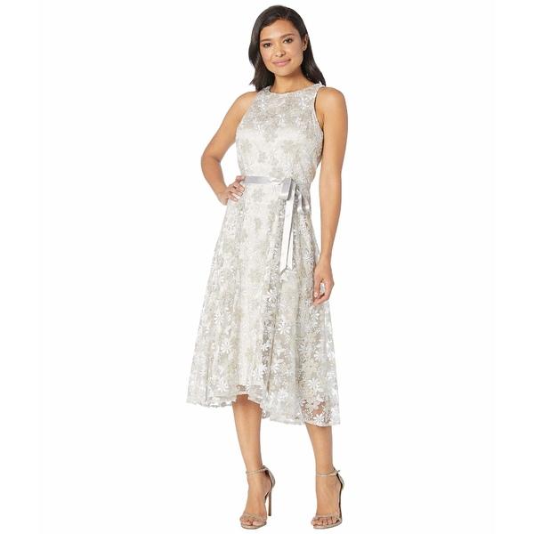 タハリ レディース ワンピース トップス Sleeveless Embroidered High-Low Hem Dress Silver/Champagne
