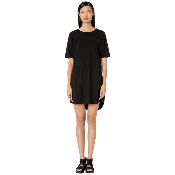 エイリーンフィッシャー レディース ワンピース トップス Organic Cotton Stretch Jersey Round Neck Elbow Sleeve Knee Length Dress Black