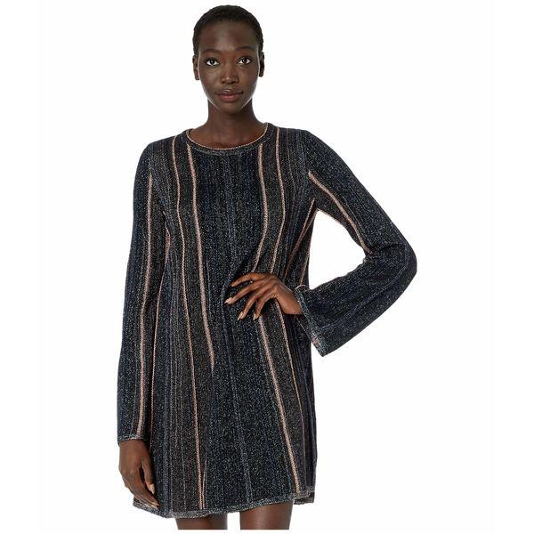 エム ミッソーニ レディース ワンピース トップス Long Sleeve Short Dress in Chenille Stripe with Lurex Black BeautylFcKJT1