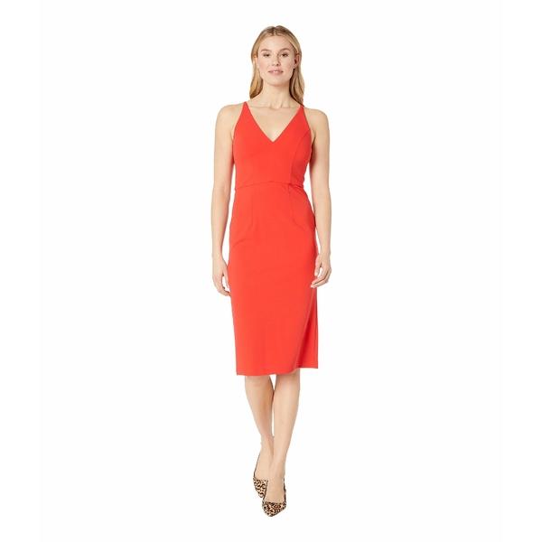 ドナモーガン レディース ワンピース トップス Deep V-Neck Crepe Sheath Dress Scarlet Red