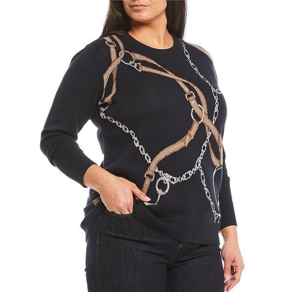 Pullover アウター Neck Lauren ニット&セーター Crew Plus Sweater Print ラルフローレン レディース Size Equestrian Navy