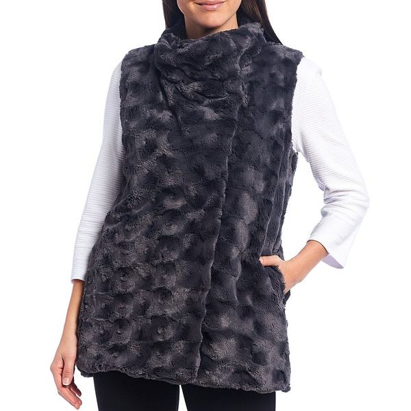 マルチプルズ レディース アウター ジャケット ブルゾン 新作販売 Graphite 超人気 専門店 全商品無料サイズ交換 Snap Faux Petite Fur Front Size Vest