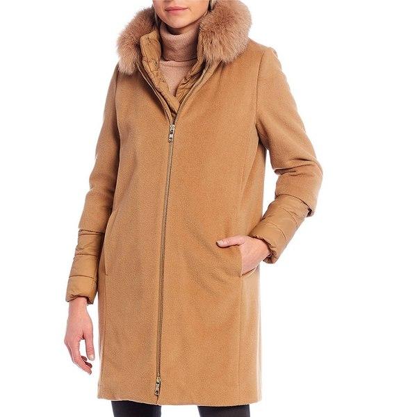 【返品交換不可】 アントニオメラニー レディース コート アウター Rebecca Wool Coat With Detachable Real Fox Fur Collar and Quilted Bib Camel, DILash BABY & KIDS SHOP 2ea6fed3