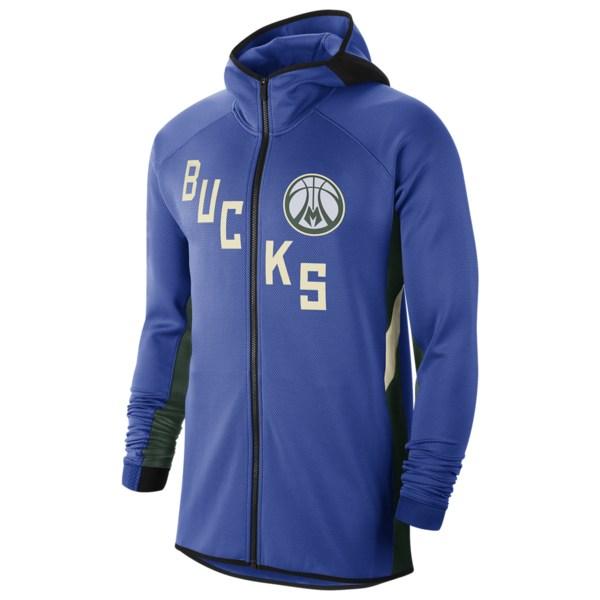 ナイキ メンズ パーカー・スウェットシャツ アウター NBA City Edition Thermaflex Showtime Hoodie NBA | Milwaukee Bucks | Game Royal/Fir | Earned