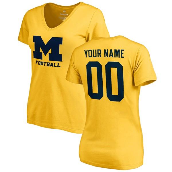 ファナティクス レディース Tシャツ トップス Michigan Wolverines Fanatics Branded Women's Personalized One Color TShirt Yellow