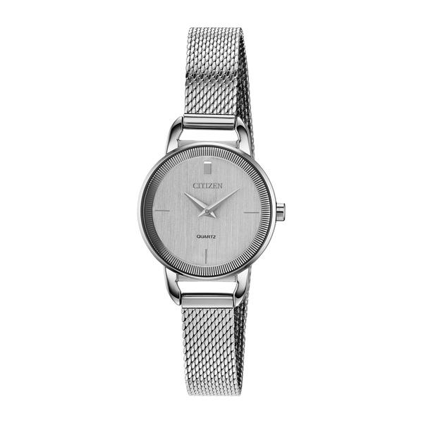 激安挑戦中 シチズン レディース アクセサリー ブレスレット バングル アンクレット SILVER-TONE 限定価格セール 全商品無料サイズ交換 Quartz 26mm Stainless Mesh Bracelet Steel Watch Women's