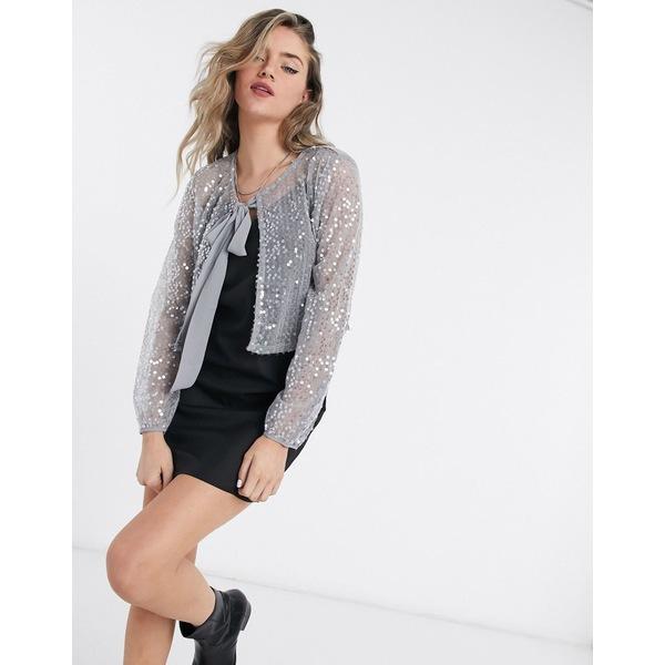 ヴィラ レディース カーディガン アウター Vila sequin tie neck jacket in silver Silver