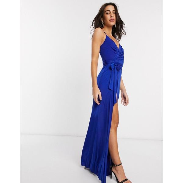 ゴッドディバ レディース ワンピース トップス Goddiva v neck maxi dress with tie waist in blue Cobalt