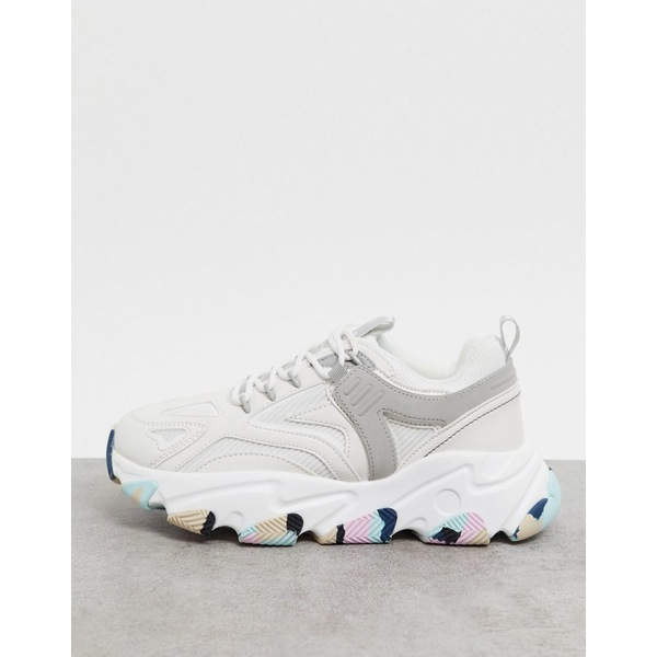 エイソス レディース スニーカー シューズ ASOS DESIGN Darby chunky lace up sneakers in white with colored sole White