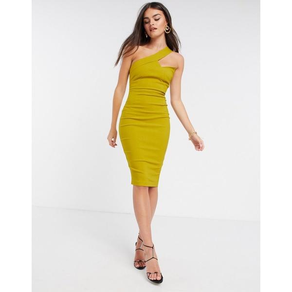 ベスパー レディース ワンピース トップス Vesper one shoulder midi pencil dress in ochre Ochre