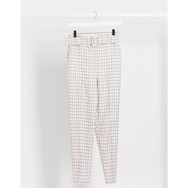 エイソス レディース カジュアルパンツ ボトムス ASOS DESIGN high waist belted cigarette pants in pastel gingham Check:asty
