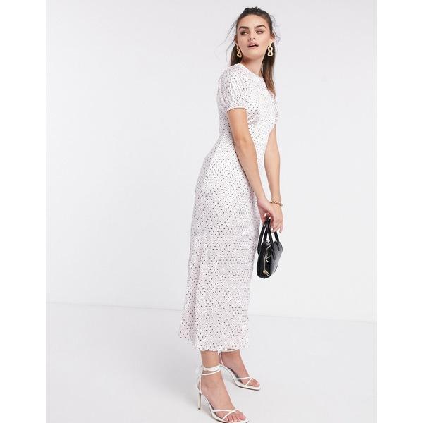 エイソス レディース ワンピース トップス ASOS DESIGN midi dress in crinkle shine polka dot in pink Pink