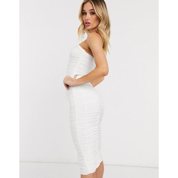 クラブエルロンドン レディース ワンピース トップス Club L bandeau ruched midi dress in white White